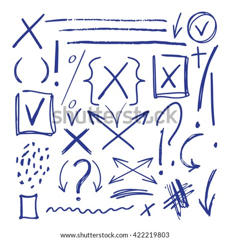 Hand drawn sketch marker, brushed signs, arrows, tick, x, waves, lines, handwritten, marker design elements set  isolated