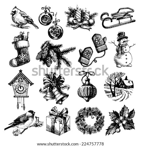 Hand drawn sketch Merry Christmas and Happy New Year set. Vector illustration - stock vector