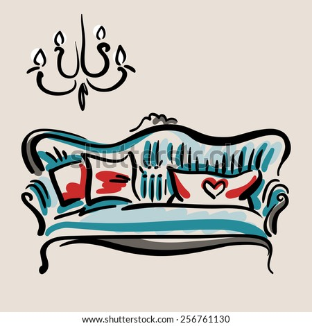 Hand drawn sketch of a blue classic couch with red pillows. Elegant furniture. - stock vector