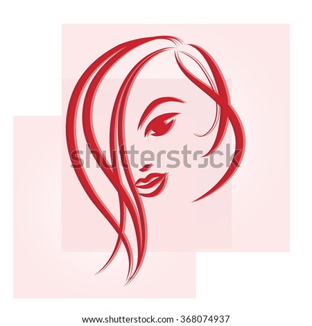 Hand drawn sketch of a young woman.  Logo for the hairdresser or beauty salon. Vector illustration.