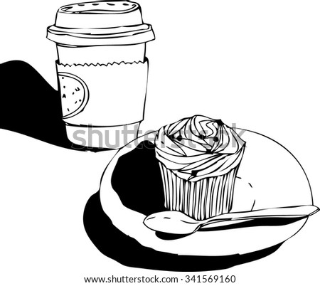 Hand drawn sketch of cup of coffee to go and pretty cupcake with cream top . Vector illustration of desserts and coffee. - stock vector