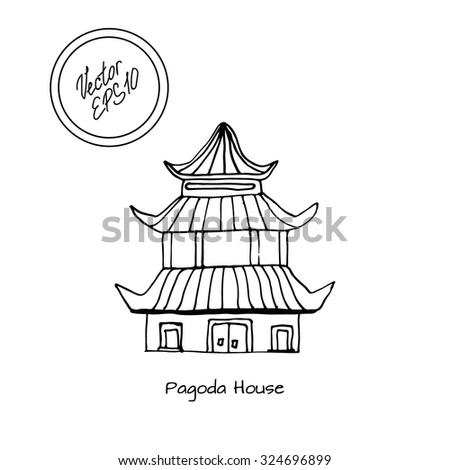 Hand Drawn Sketch Of Detached Asian Or Chinese Pagoda House With Big Windows And Roof