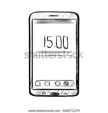 Hand drawn sketch of doodle phone - stock vector