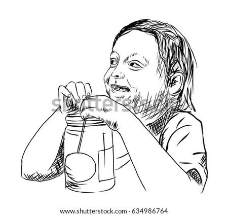 Hand drawn sketch of gird drinking juice in vector illustration.