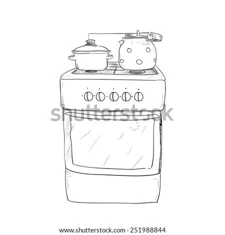 Hand drawn sketch of kitchen stove with kettle and pan - stock vector