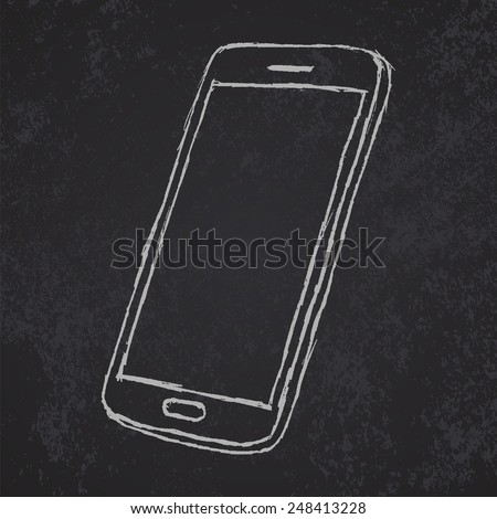 Hand drawn sketch of mobile phone outlined on blackboard. - stock vector
