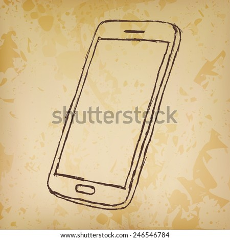 Hand drawn sketch of mobile phone outlined on old paper. - stock vector