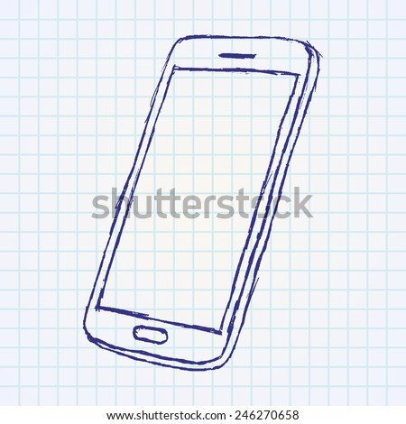 Hand  drawn sketch of mobile phone outlined on paper notebook. - stock vector