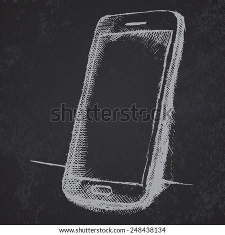 Hand drawn sketch of mobile phone with shadow on blackboard. - stock vector