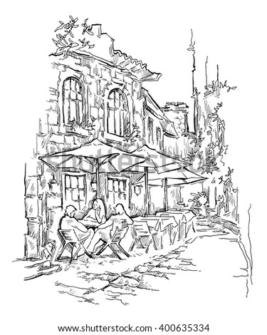 Hand drawn sketch of old street. Street cafe. Vector illustration made in vintage style. Isolated on white background.