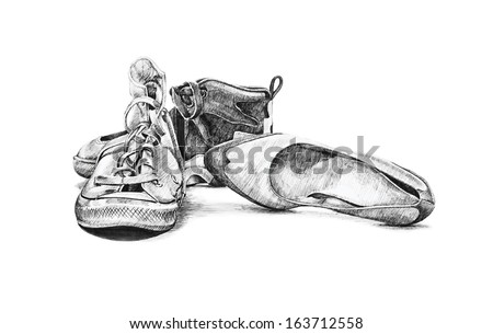 hand drawn sketch of old worn shoes vector, vintage tennis canvas style fashion, ladies shoes, saddle, sports running high top shoe, vector is on white background, scalable for large or small projects - stock vector