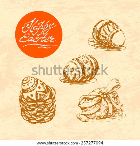 Hand drawn sketch of painted easter eggs set. Vector vintage line art illustration on texture paper. Happy easter lettering in circle.  - stock vector