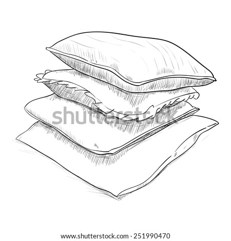 Hand drawn sketch of pillows. Vector illustration - stock vector