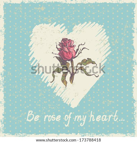 Hand drawn sketch of rose on heart-shaped backdrop. All objects are located on separate layers