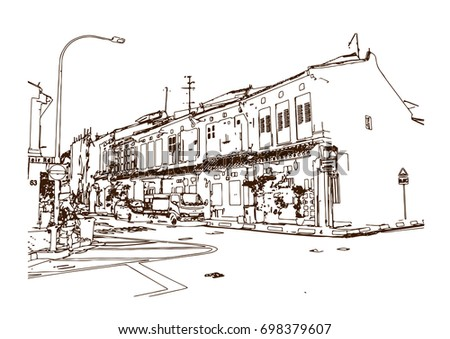 Hand drawn sketch of Singapore street near autram park in vector illustration.
