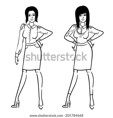Hand drawn sketch of the beautiful and attractive office woman. Fashion sexy lady. - stock vector