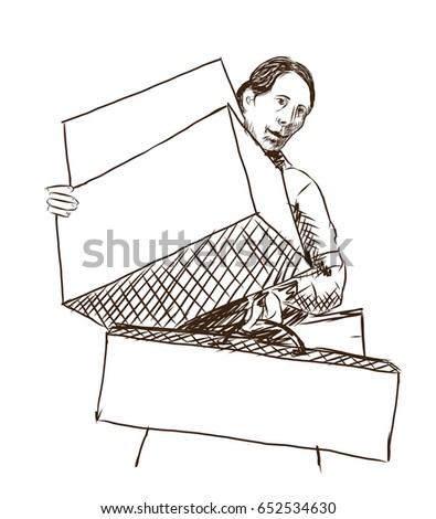 Hand drawn sketch of Young Lady Going on Shopping Carrying Boxes and bag in vector sketch.