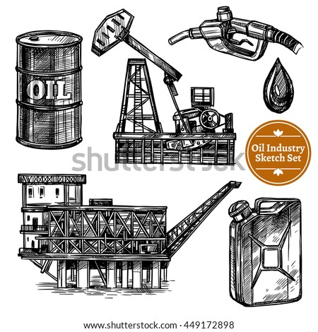 Hand drawn sketch oil industry set with oil offshore platform image and elements of  filling station isolated vector illustration - stock vector