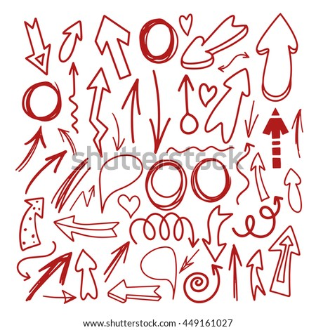 Hand drawn sketch red marker signs, arrows, circles, speech bubble, hearts. Line art, outline design elements set isolated on white background