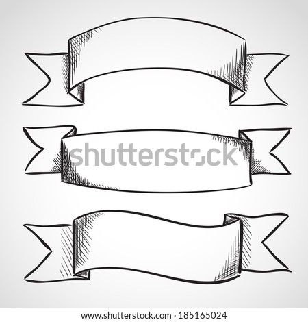 Hand drawn sketch ribbons, ink style - stock vector