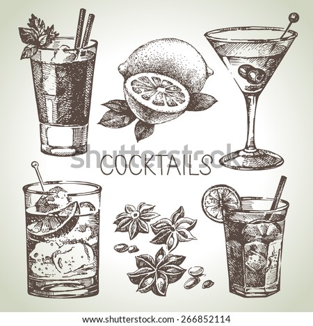 Hand drawn sketch set of alcoholic cocktails. Vector illustration - stock vector