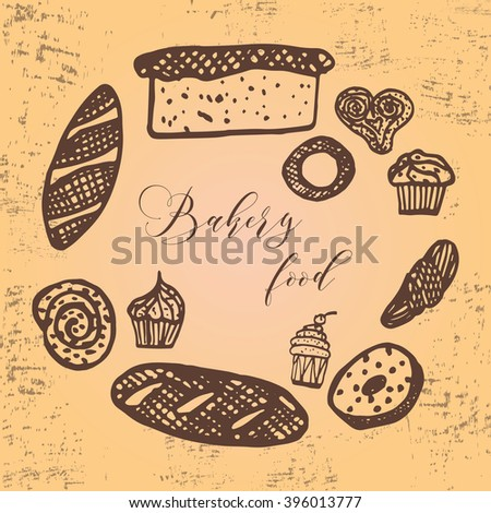 Hand drawn sketch set of breads and buns in line art. Vector illustration of bakery collection.