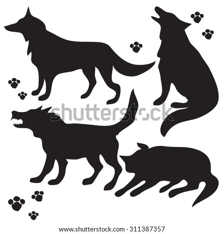 Hand drawn sketch set of wolves silhouettes on white background.