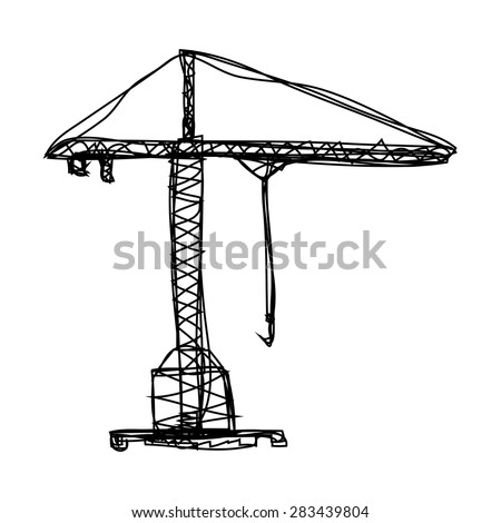 Hand drawn sketch silhouette construction crane tower icon. Vector building illustration. - stock vector