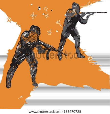 hand drawn sketch  silhouettes of shooting men in hoods, armed automatic guns and firing - stock vector