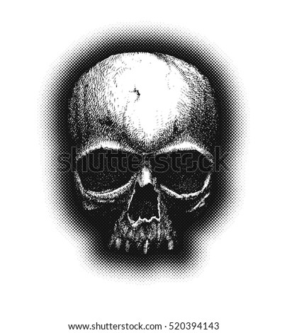 Hand drawn sketch skull. Vintage vector illustration on black background.