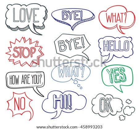 Hand drawn sketch speech bubbles clouds with different messages. Set of hand drawn comic bubble design elements. Vector illustration