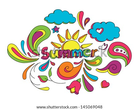 Hand drawn sketch style doodle vector illustration with summer elements. - stock vector