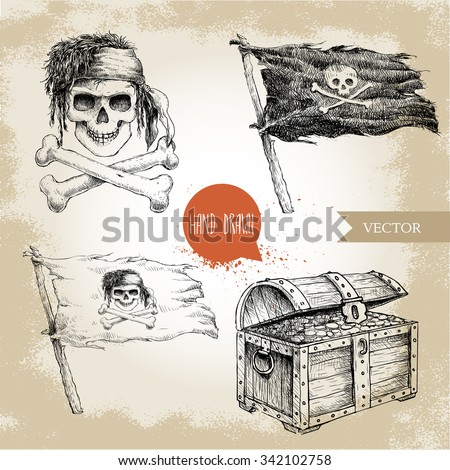 Hand Drawn Old Ribbons Set Banners Stock Vector 368377430 ...
