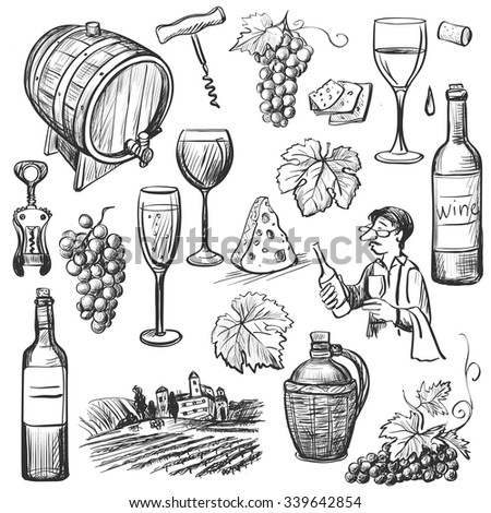 Hand drawn sketch vector wine set. Wine objects: bottle, glass, barrel, grapes, corkscrew, sommelier. - stock vector