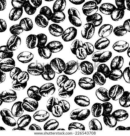 Hand drawn sketch vintage coffee beans seamless pattern. Vector illustration. Background for cafe and restaurant menu design - stock vector