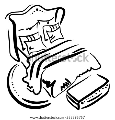 Hand drawn sketch with classic bed, pillows, blanket on the white background.
