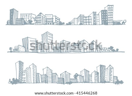 Hand drawn sketches of urban silhouettes. Vector illustration - stock vector
