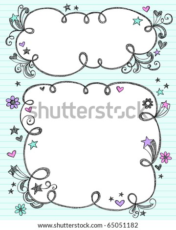 Hand-Drawn Sketchy Cloud Shaped Bubble Border Doodle Frames- Notebook Doodles on Blue Lined Paper Background- Vector Illustration - stock vector