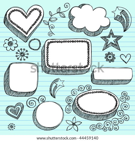 Hand-Drawn Sketchy 3-D Shaped Frames Notebook Doodles on Lined Paper Background- Vector Illustration - stock vector