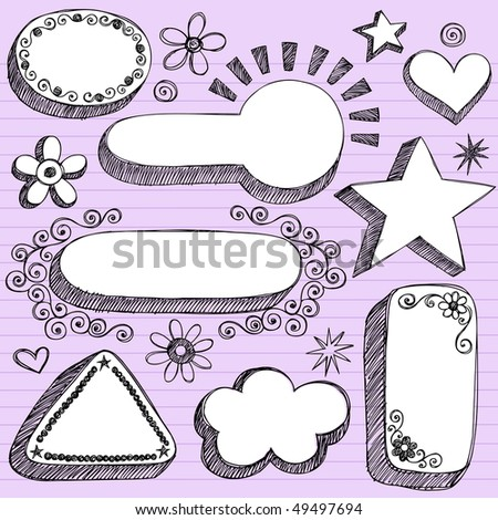 Hand-Drawn Sketchy 3-D Shaped Frames Notebook Doodles on Purple Lined Paper Background- Vector Illustration - stock vector