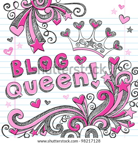 Hand-Drawn Sketchy Doodle Blog Queen Back to School Notebook Doodles Vector Illustration Design Elements Set - stock vector