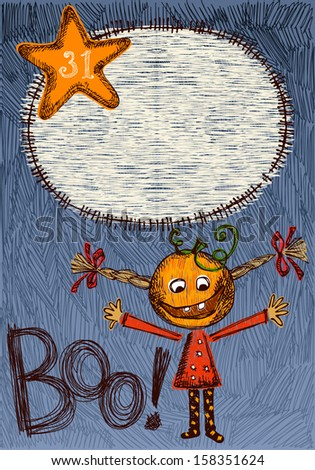 Hand drawn, sketchy, doodles Halloween background with frame. - stock vector