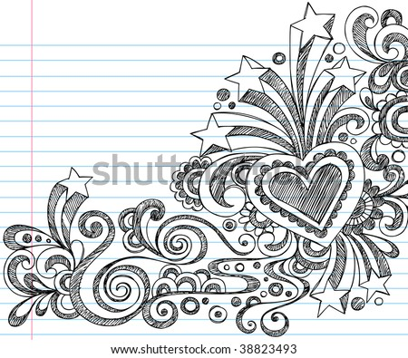 Hand-Drawn Sketchy Doodles on Lined Notebook Paper Vector Illustration - stock vector
