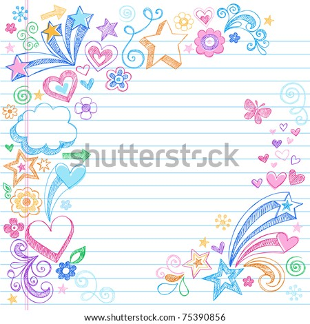 Hand-Drawn Sketchy Doodles with Stars, Hearts, and Flowers- Design Elements on Lined Notebook Paper Background- Vector Illustration - stock vector