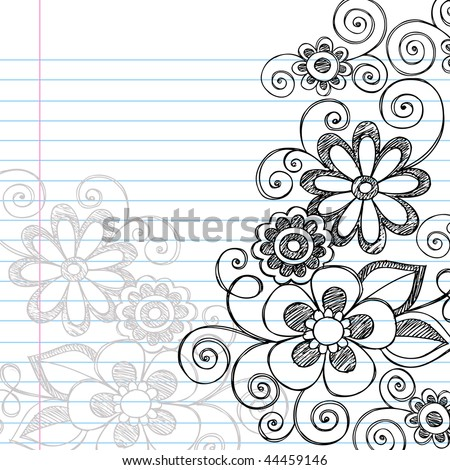 Hand-Drawn Sketchy Flowers and Vines Notebook Doodles on Lined Paper Background- Vector Illustration - stock vector