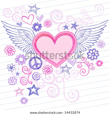 Hand-Drawn Sketchy Heart with Angel Wings Doodles with Stars, Flowers, and Peace Sign on Lined Notebook Paper Background- Vector Illustration - stock vector
