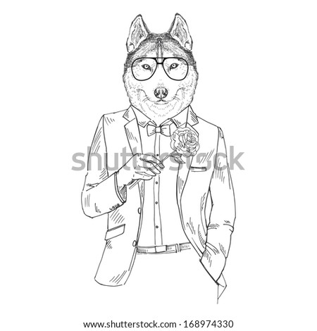 hand drawn sketchy illustration of dressed up dog with rose isolated on white - stock vector