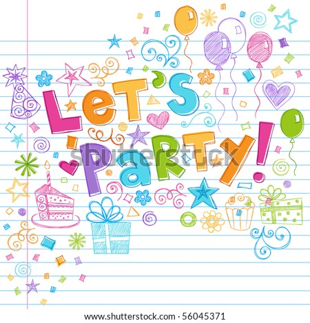 Hand-Drawn Sketchy Let's Party Birthday Celebration Sketchy Notebook Doodles on Lined Sketchbook Paper Background- Vector Illustration - stock vector