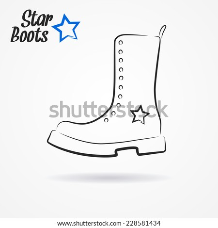 Hand drawn sketchy logo with stylized military boots and star - stock vector
