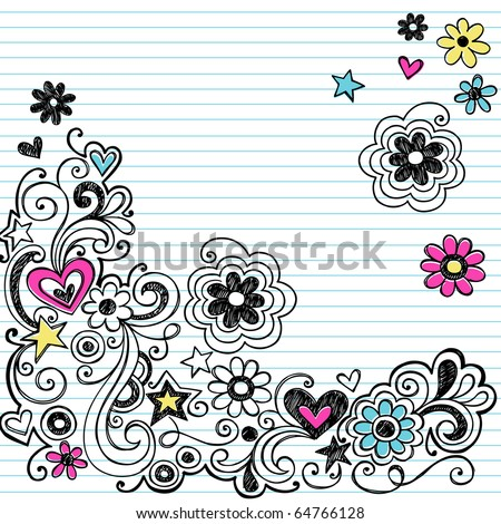 Hand-Drawn Sketchy Marker Notebook Doodle Design Elements on White Lined Sketchbook Paper Background- Vector Illustration - stock vector